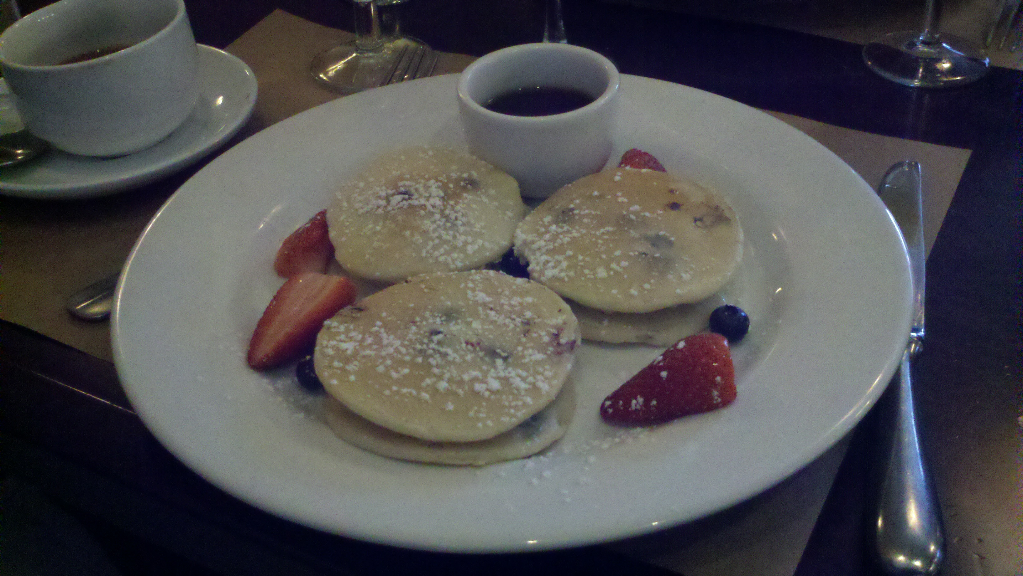 Blueberry pancakes with LEMON cream cheese. Key work LEMON